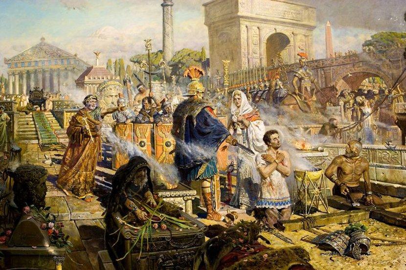 Свет первохристианства во тьме языческой империи Рима.